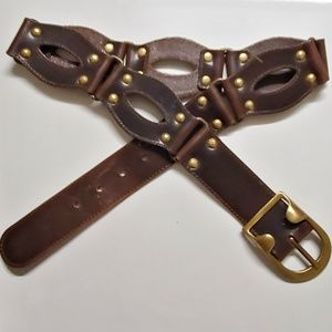 KOOBA Chain Leather Wide Belt